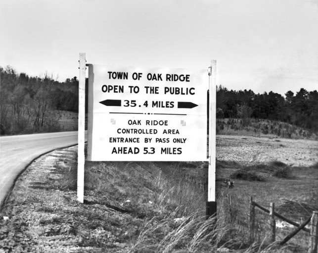 April-1949-City-Limits-with-Restriction-Sign-of-Town-Oak-Ridge