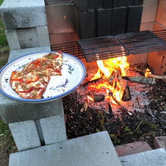 Pizza on the fire